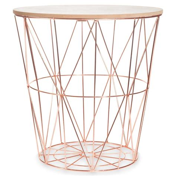 zigzag copper metal side table d40cm maisons du monde