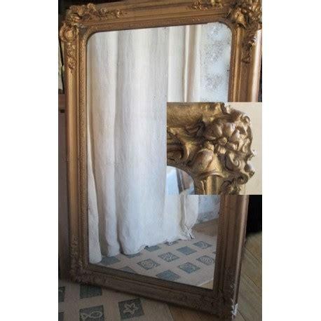 miroir ancien bois et platre dor 233 115cm broc23