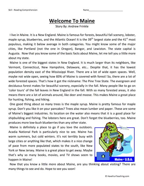 Fourth Grade Reading Comprehension Worksheets  Page 7 Of 7  Have Fun Teaching