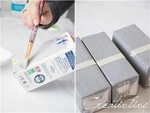 Effekt Farbe Streichen : diy upcycling tetrapack als betonvasen mit glanz creativlive ~ Markanthonyermac.com Haus und Dekorationen