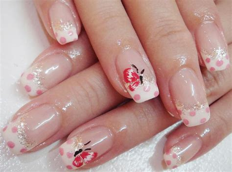 Pink Dots Butterfly Glitter Girly French Nails