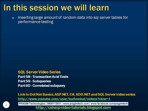 Sql Server, Net And C# Video Tutorial Part 61 Creating