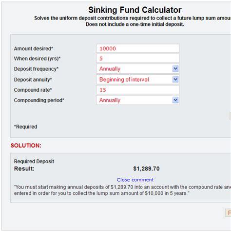 sinking fund plan sinks ideas