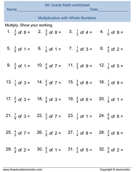 Fourth Grade Worksheets For Your Kids