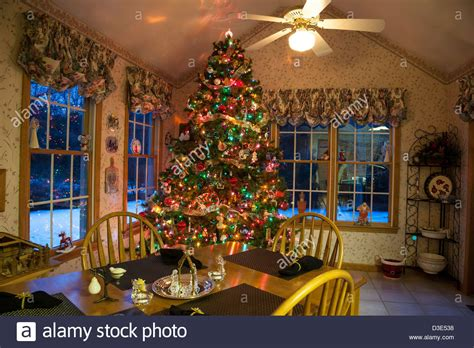 Christmas Tree In Suburban Residential Home, With Snow