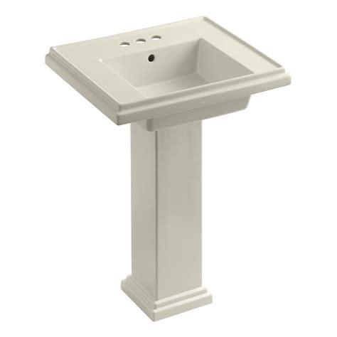 kohler k 2844 4 0 tresham 24 inch pedestal bathroom sink with 4 inch centerset faucet drilling