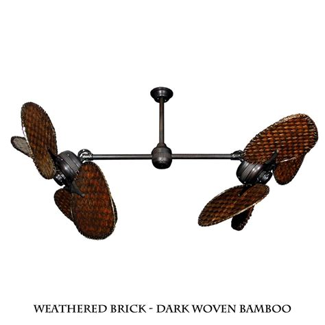 ii dual motor ceiling fan with woven bamboo