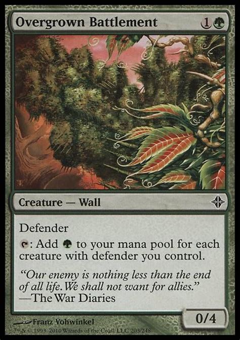overgrown battlement 2 cost mana r wall defender