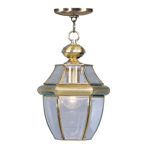 shop livex lighting monterey 12 75 in antique brass outdoor pendant light at lowes