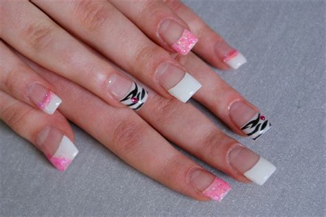 Pink Glitter Zebra French