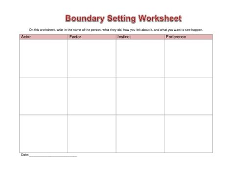 Worksheet Boundary Setting