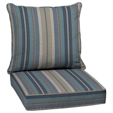 shop allen roth glenlee striped blue uv protected seat patio chair cushion at lowes