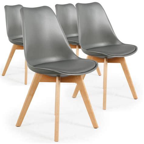 chaise scandinave cuir simili gris ericka lot de 4 pas cher scandinave deco
