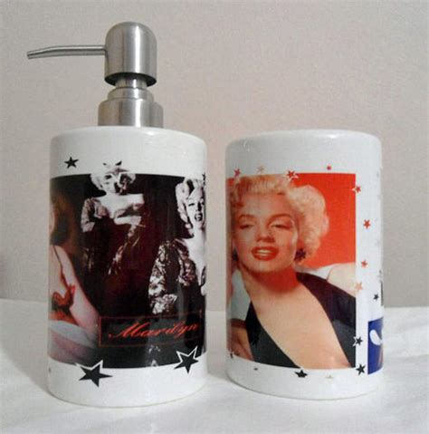 bathroom accessories marilyn printed soap or dispensor and toothbrush holder set
