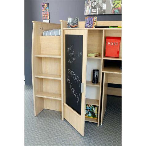 lit combin 233 avec bureau et rangement 90x200cm elliot