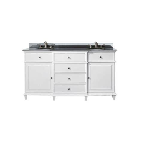 avanity 60 inch w sink vanity in white finish with granite top in black the