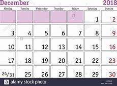 Simple digital calendar for december 2018 Vector