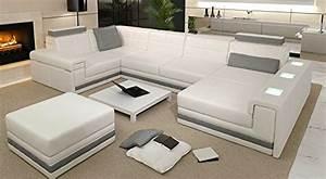 Sofa U Form Grau : leder wohnlandschaft sofa wei grau couch ecksofa ~ Markanthonyermac.com Haus und Dekorationen