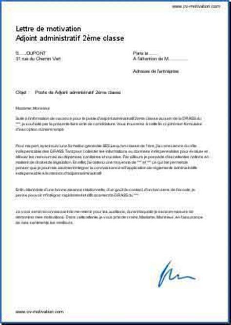 modele lettre de motivation adjoint administratif 2eme classe document