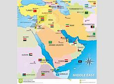 Middle East Map With Flags Stock Illustration Image