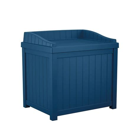 suncast 22 gal navy blue small storage seat deck box ss1000nd the home depot