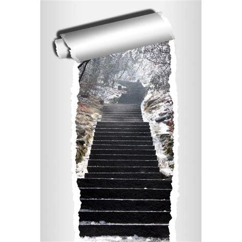 sticker trompe l oeil d 233 co escalier hiver stickers autocollants