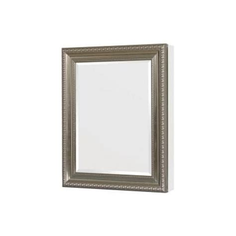 pegasus 24 in x 30 in recessed or surface mount mirrored medicine cabinet in satin nickel