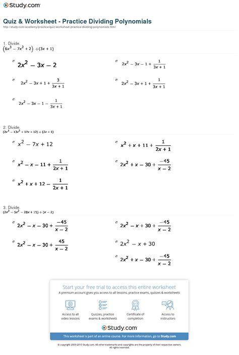 Quiz & Worksheet  Practice Dividing Polynomials Studycom