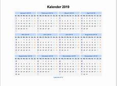 Kalender 2019 Jaarkalender En Maandkalender 2019 Met