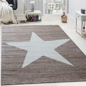 Teppich Stern Blau : designer teppich stern muster modern trendig kurzflor meliert in braun beige teppiche kurzflor ~ Markanthonyermac.com Haus und Dekorationen