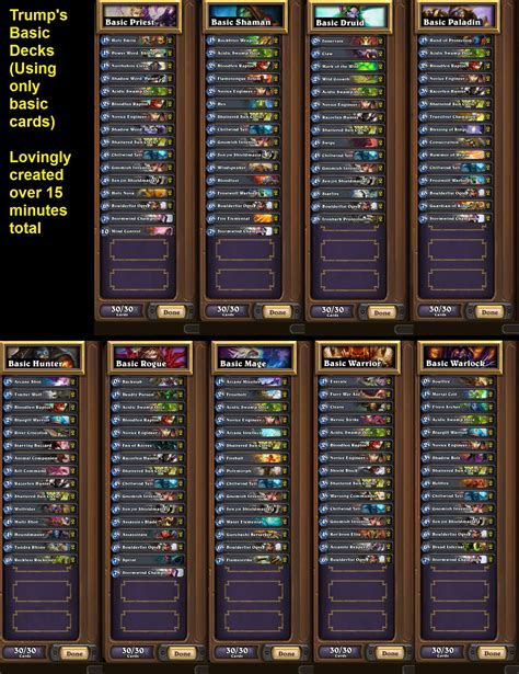 starter deck for all 9 classes by hearthstone players