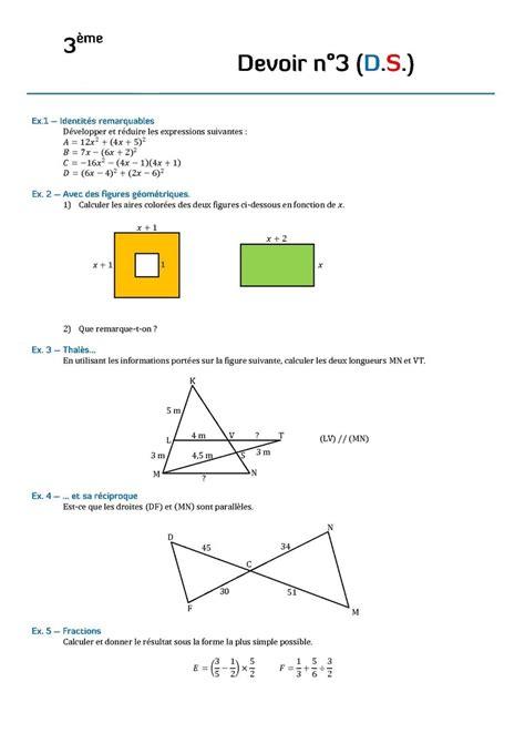 devoir maison math 3eme theoreme thales