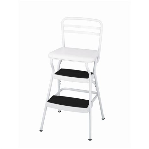 ameriwood cosco collection white retro counter chair w lift up seat step stool ebay