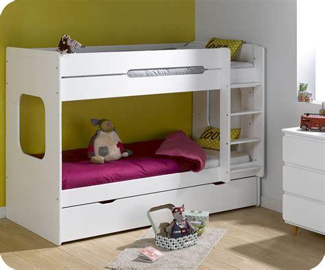 pack lit superpos 233 enfant spark blanc 90x200 cm avec 2 matelas