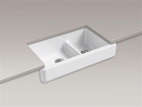 kohler 174 whitehaven 174 bowl cast iron sink apron front fits 36 quot cabinets domain
