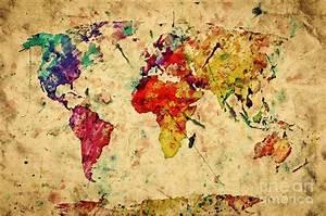 Alte Weltkarte Poster : vintage world map photograph by michal bednarek ~ Markanthonyermac.com Haus und Dekorationen
