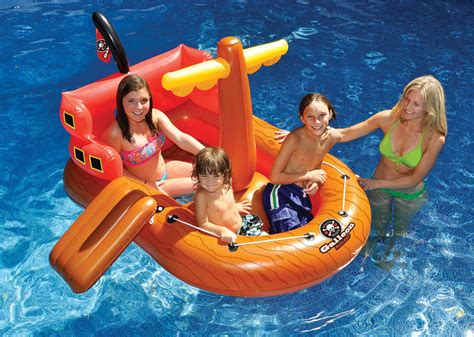 Blow Up Boat Toy by Kids Inflatable Swimming Pool Float Blow Up Fun Pirate