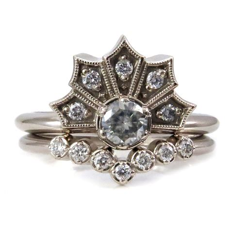 modern deco engagement ring set crown ring with