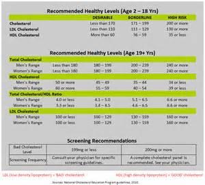 ldl vs hdl cholesterol chart chart of normal cholesterol levels
