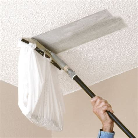 you can attach a plastic bag to this popcorn ceiling