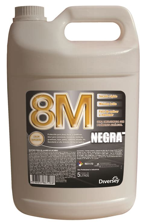 8m negra cera lustrable floor care caja de 4 x 5 litros