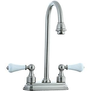 cifial 272 225 031 asbury centerset bar faucet with white porcelain handles unlacquered brass