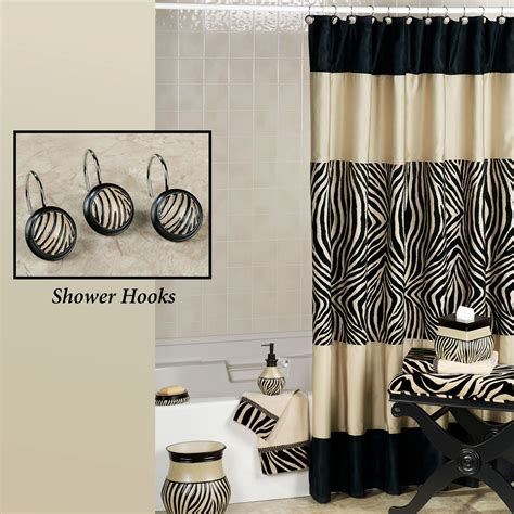 zuma zebra shower curtain and hooks