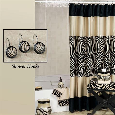 Zebra Print Bathroom Decor Zuma Zebra Shower Curtain And Hooks
