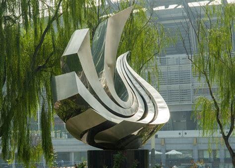 Large Polished Stainless Steel Sculpture , Outdoor Metal