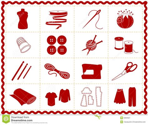Sewing & Craft Icons, Red Silhouette Stock Vector