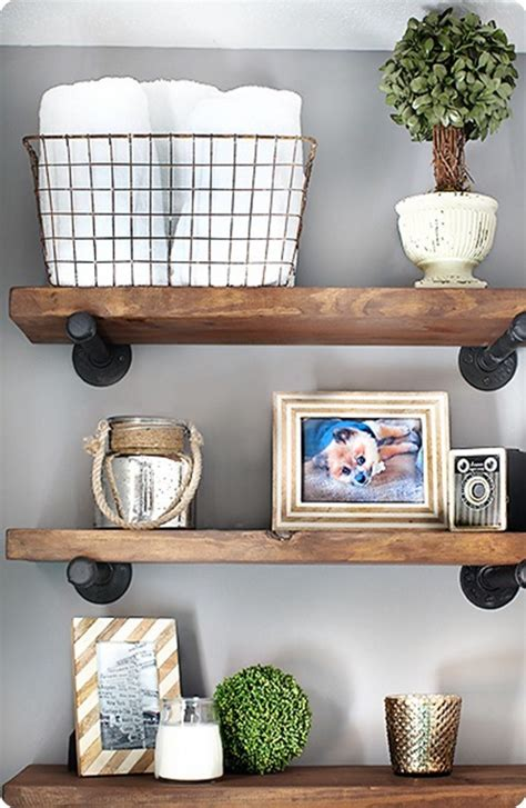 Half Bathroom Wall Decor by Reclaimed Wood And Metal Wall Shelves