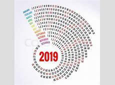 2019 calendar Print Template Spiral calendar Set of 12