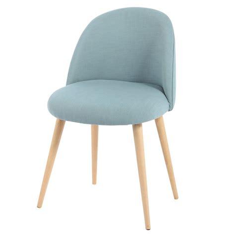 chaise vintage en tissu et bouleau massif bleue mauricette maisons du monde