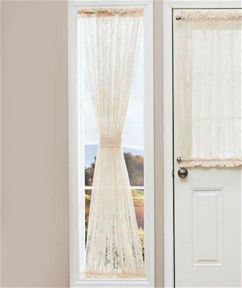 lace door window sidelight curtain panel w rod